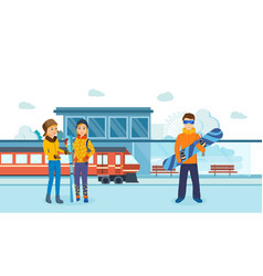 friends man with skis at railway winter station vector image