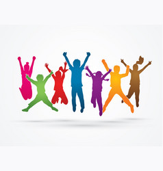 Group children jumping together friend vector