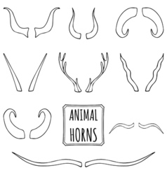 Hand drawn silhouettes set of animal horns vector