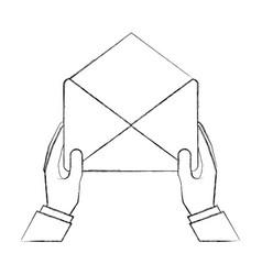 hands holding envelope mail letter vector image