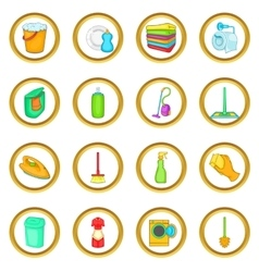 Household elements set cartoon style vector