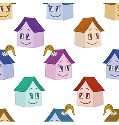 Houses girl and boy seamless background vector image vector image