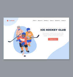 Ice hockey club landing page template vector