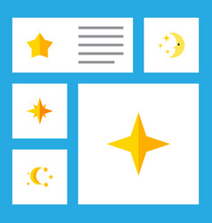 Icon flat midnight set of twilight asterisk star vector