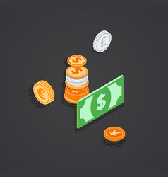 Isometric coins bank note money vector