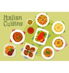 Italian cuisine traditional meat dishes icon vector
