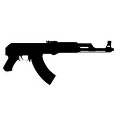 Kalashnikov assault rifle silhouette isolated vector
