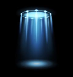 Light ufo spaceship alien magic bright blue vector