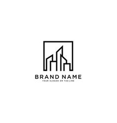 Logo line building vector