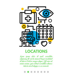 Medical locations banner outline style vector
