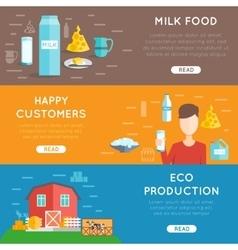 Milk flat banner set vector image