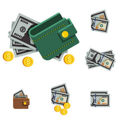 money icons and wallet vector image