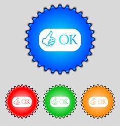 Ok sign icon positive check symbol set colored vector