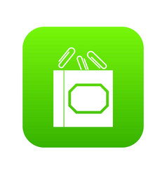 paper clips box icon digital green vector image