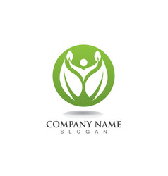 people leaf green nature health logo and symbols vector image