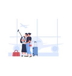 people take selfie in airport terminal hall vector image