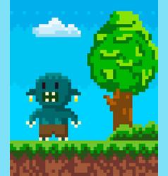 Pixel geek character vector
