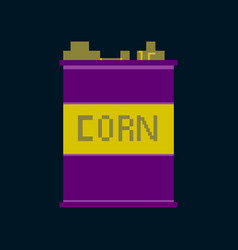 Pixel icon in flat style corn in glass vector