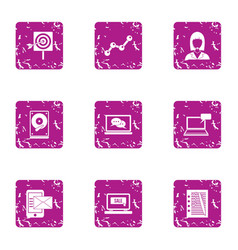 Record data icons set grunge style vector