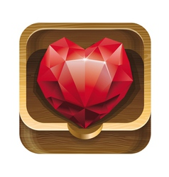 Red diamond heart in wooden box vector
