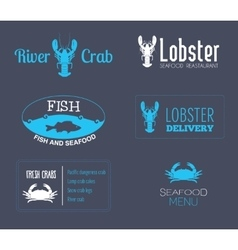 Seafood label set vector image