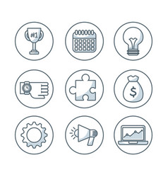 set business isolated icons vector image