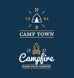 set camp logo with campfire and camp tent vector image