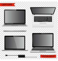 Set of laptops in different positions isolated on vector