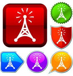 Set shiny icon series on buttons antenna vector