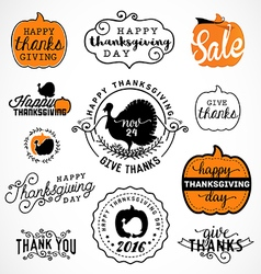 set thanksgiving calligraphic vector image