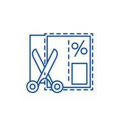 shopping coupon line icon concept shopping coupon vector image