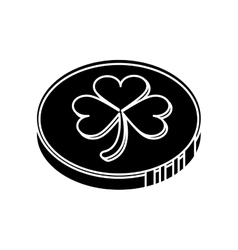 silhouette st patrick day coin sign vector image