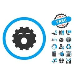 Sleepy Gear Flat Icon with Bonus vector