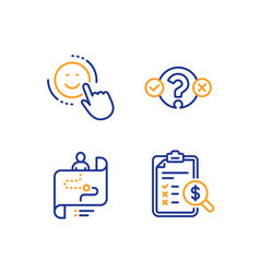 Smile quiz test and journey path icons set vector
