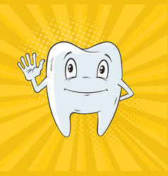 smiling tooth cartoon vector image