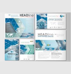 Social media posts set business templates cover vector