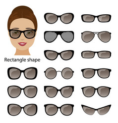 Spectacle frames and rectangle face vector
