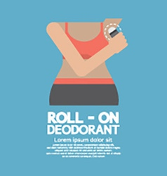 Sporty woman using roll-on deodorant vector