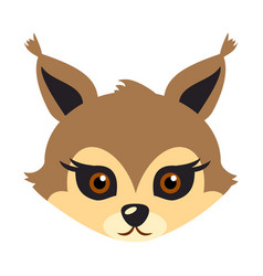 Squirrel animal carnival mask brown fluffy bun vector