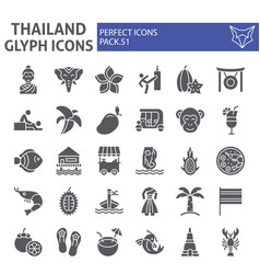 thailand glyph icon set thai symbols collection vector image