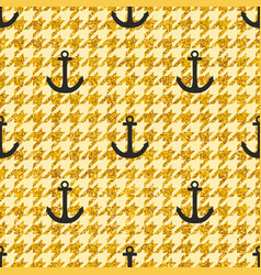 tile sailor pattern with anchor on hounds tooth vector image