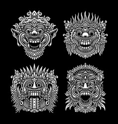traditional balinese mask collection vector image
