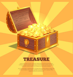 Treasure bright wooden box vector