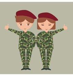 Two kids children wearing military uniform army vector