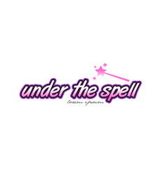 Under the spell word text logo icon design vector