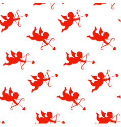 valentine day seamless pattern with cupids vector image