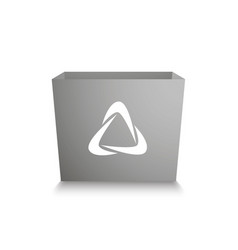 white box with white stylized waste recycling logo vector image