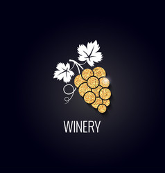 Wine grape gold concept on black background vector