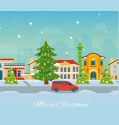 Winter trip to europe atmosphere of new year vector