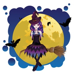 Witch and Full Moon vector image